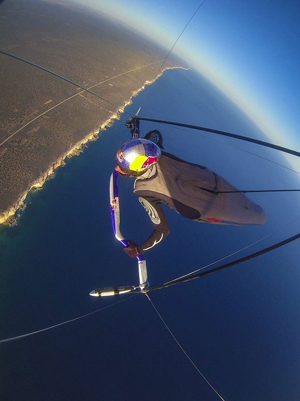 Jonny Durand above the Nullabor cliffs. Photo: Mark Watson / Red Bull Content Pool