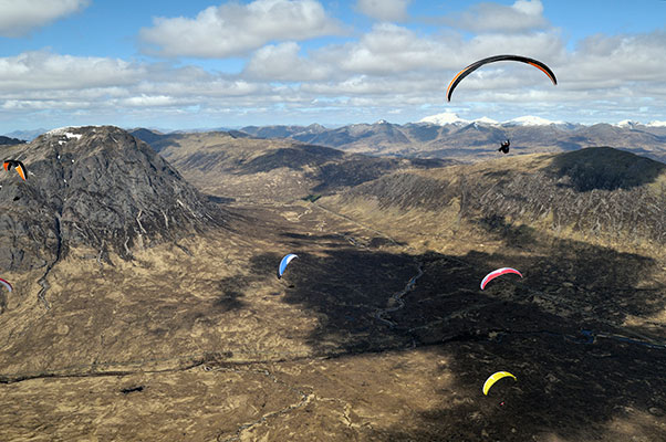 Paragliding in Glencoe. Photo: Jerome Maupoint