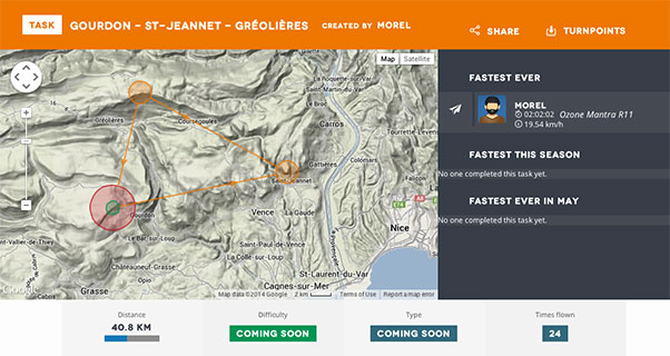 A screen grab showing a 40km triangle in the south of France. Image: intoCross.com