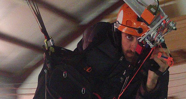 Andy Pag in the zone on the G-Force Trainer in Annecy