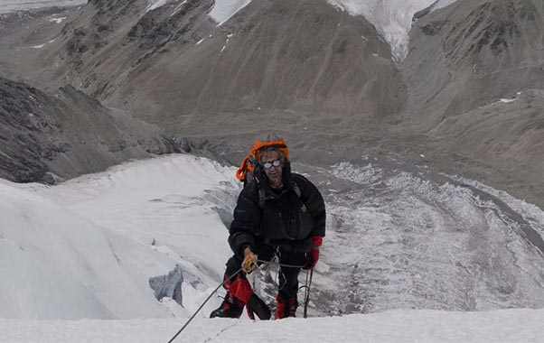 Ken Hutt climbing Cho Oyu in Tibet prior to flying off it. Photo: Ken Hutt collection