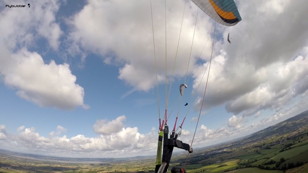 Mark Watts and Nev Almond climb out. Photo: FlyBubble Paragliding