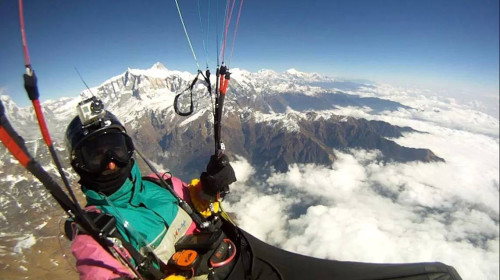Herve Burdet in flight above Machapuchare. Photo: Herve Burdet / Facebook