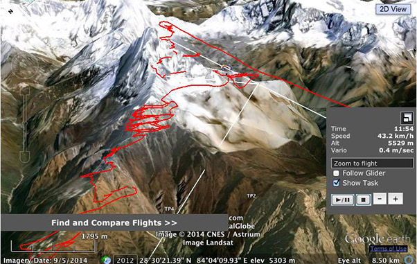 Herve Burdet's tracklog from his flight to 7,000m, above Machapuchare in Nepal