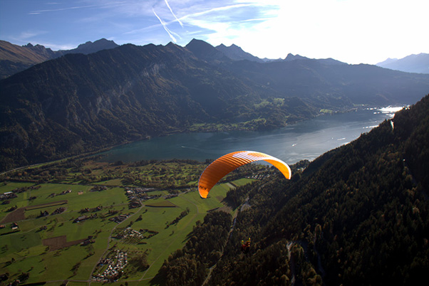 Test flying the new gliders in Interlaken, Switzerland