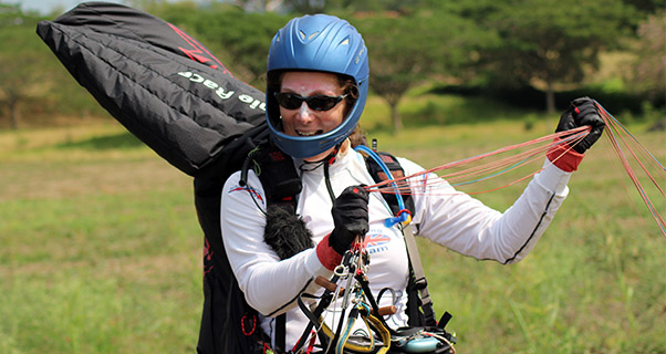 Kirsty Cameron in goal at the Paragliding World Championships 2015. Photo: James Pagram