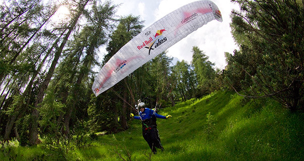 Chrigel Maurer launches during the X-Alps