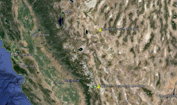 Map of Owens Valley and Larry Tudor's 1985 flight