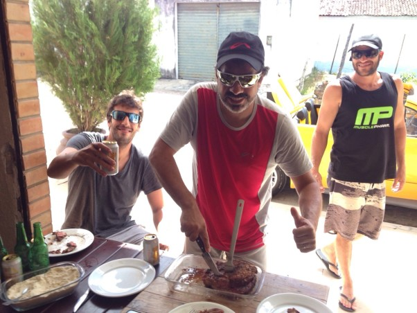 Donizete Lemos barbecues the steak on the Sunday after the record flight. Photo: Frank Brown