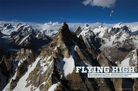 Paragliding at altitude with oxygen