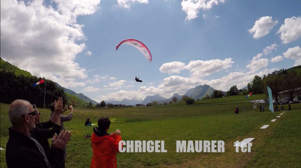 Chrigel Maurer crosses the goal line to win the 2016 Bornes to Fly