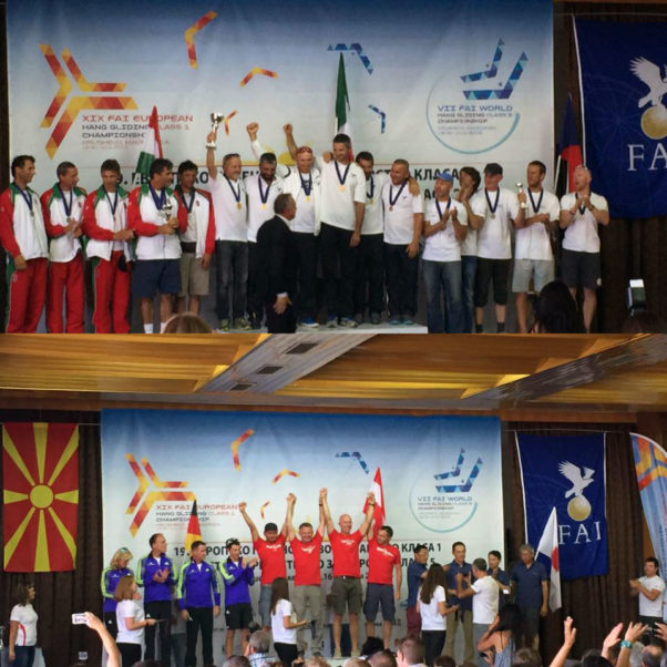 Team podiums at both Class 1 and Class 5 Hang Gliding European Championships 2016. Photo: Eduardo Jacintho W Oliveira / Facebook