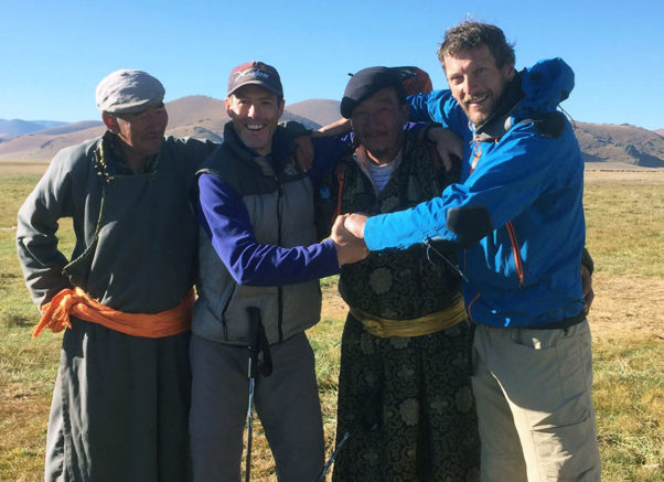 Steve Nash and Gareth Aston with heir hosts, 31 August 2016. Photo: Spiralling the Steppes 2 / Facebook