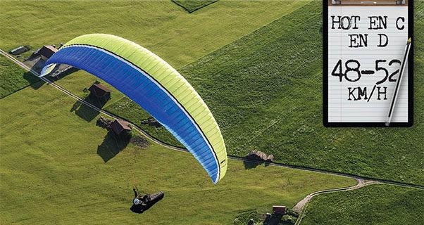 Airspeed of an EN B paraglider