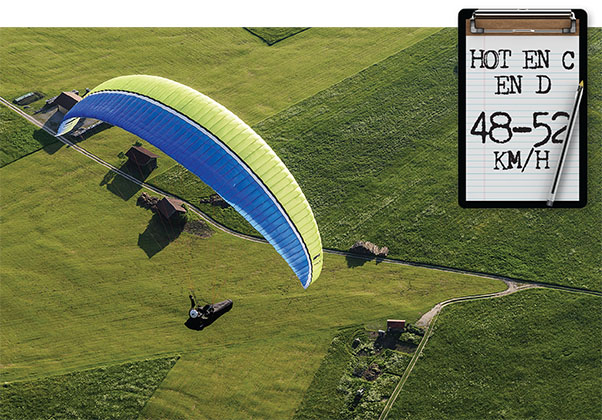 Airspeed of EN D paragliders