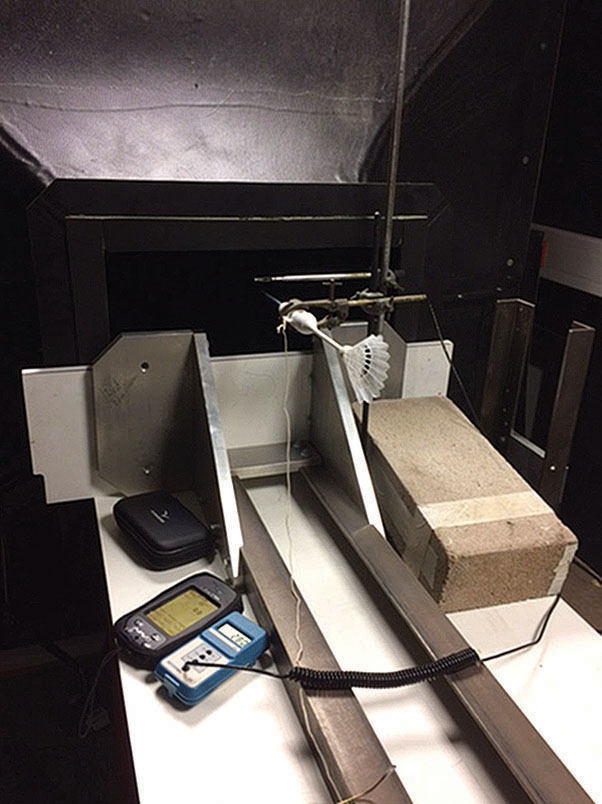 The boffin test ... Our speed probe in Oxford University's wind tunnel