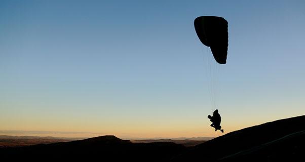 Sunset take-off in Australia. Photo: Tex Beck