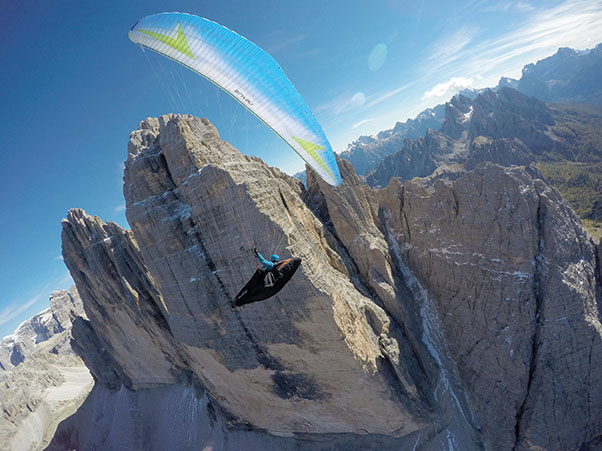 Flying close to the Tre Cime di Lavaredo, in the Dolomites. Photo: Daniel Kofler