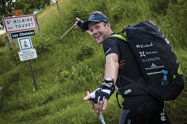 Chrigel Maurer enjoys the race on the hike to St Hilaire du Touvet in the 2013 X-Alps. If you equip yourself with the right skills, and tackle the right challenge, you are almost guaranteed to have fun Photo: Sebastian Marko / Red Bull Content Pool