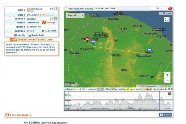 Julien Irilli's 340km tandem record flight on XContest