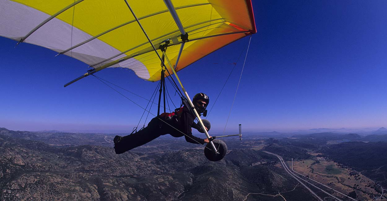 Hang gliding in Horse Canyon. Photo: John Heiney