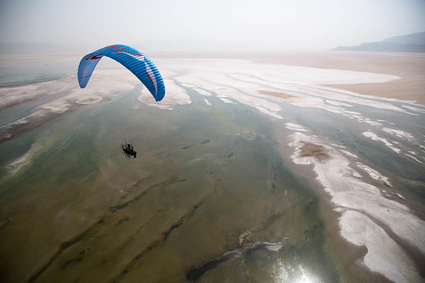 Paramotoring in Iran. Photo: Nick Greece