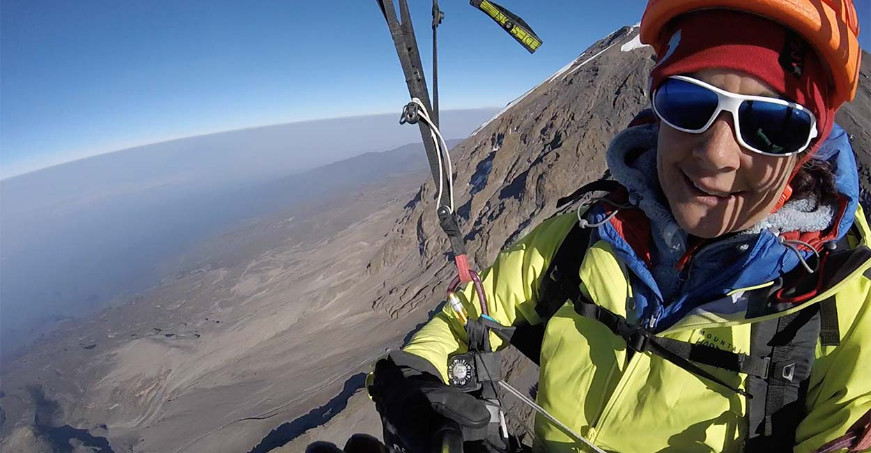 Charlie King flying from Kilimanjaro