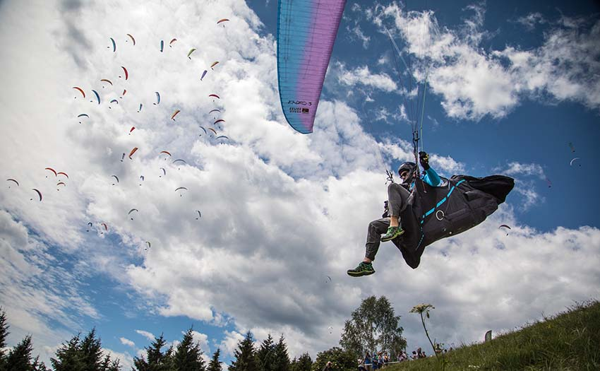 Launching at the Paragliding World Championships. Photo: Marcus King