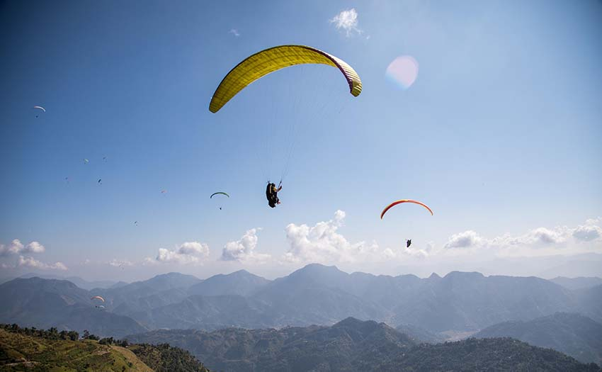 Paragliding competition in Nepal. Photo: Marcus King