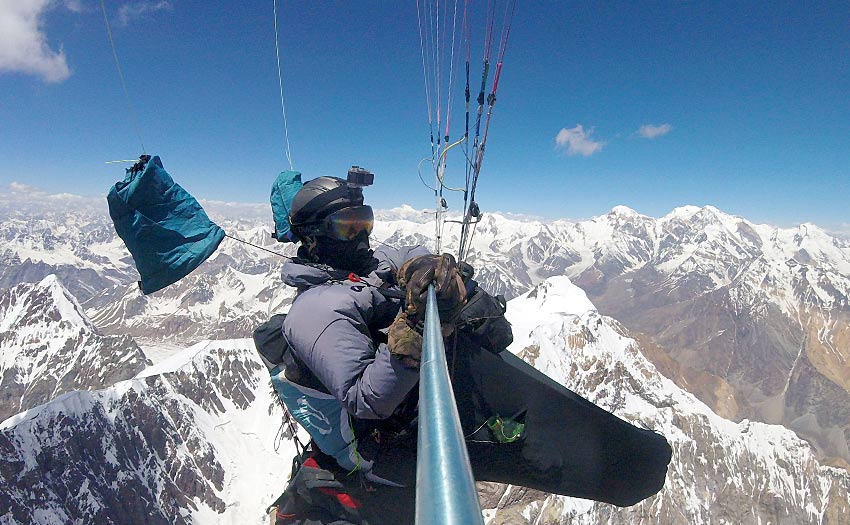Alexey Druzhinin paragliding in the Pamirs, Tajikistan