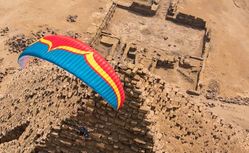 Paramotoring above the Pyramids in Egypt