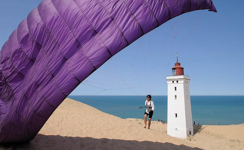 Paragliding in Denmark on the beach