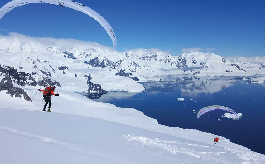 Paragliding in Antarctica, Seven Summits expedition