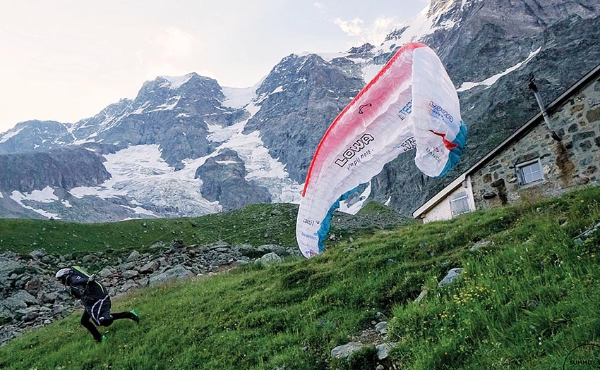 Chrigel Maurer launches from the Schmadrihutte during the Eiger Tour 2018. Photo: Tobias Dimmler