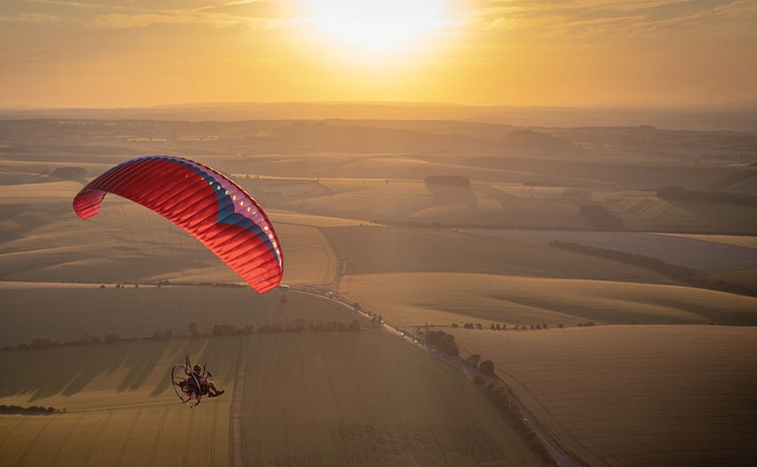 Ed Ewing paramotoring with Parajet in Wiltshire, UK. Photo: Marcus King