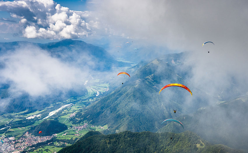 Paragliding in the Alps. Photo: Kieran Campbell