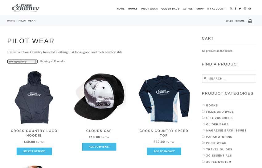 XC Shop website