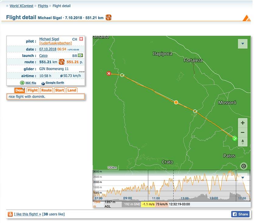 Michael Sigel 551km flight