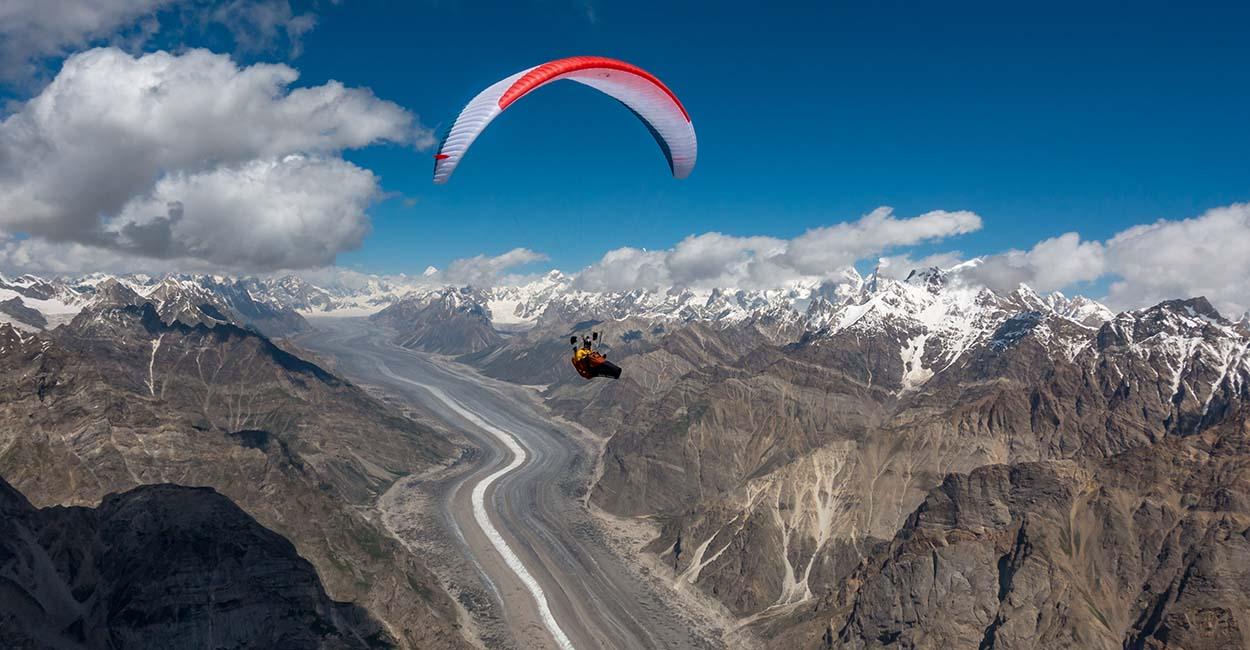 Damien Lacaze Paragliding above the Biafo Glacier