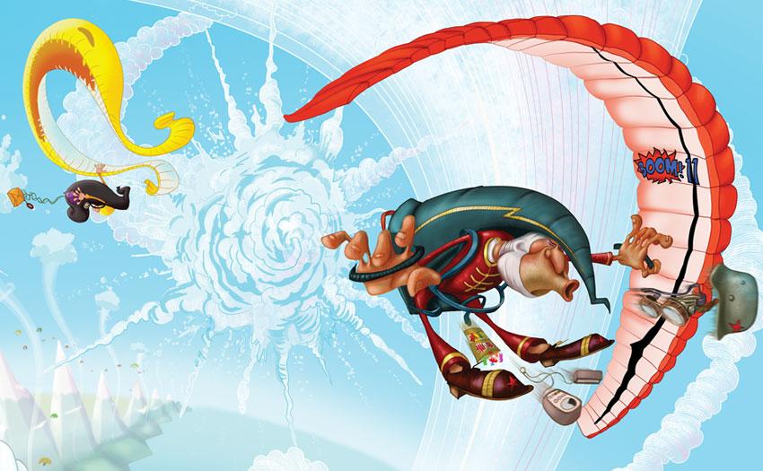 Paragliding World Championships in Macedonia. Illustration: Steve Ham