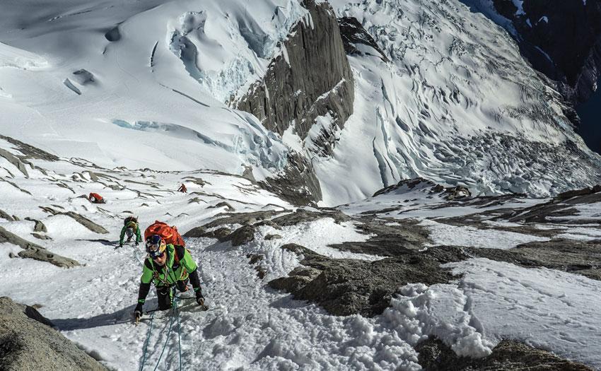Aaron Durogati climbing in Patagonia. Photo: Daniel Ladurner