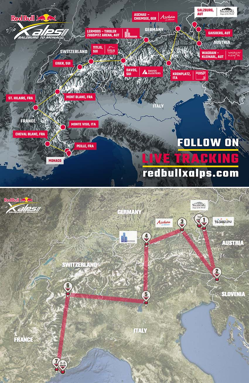 The Red Bull X-Alps 2019 route compared with the 2017 route. Credit: Red Bull X-Alps