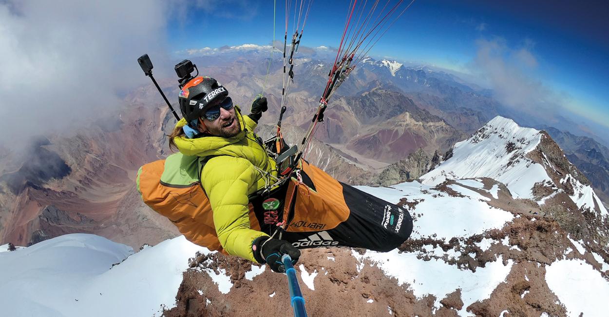 Antoine Girard above Aconcagua