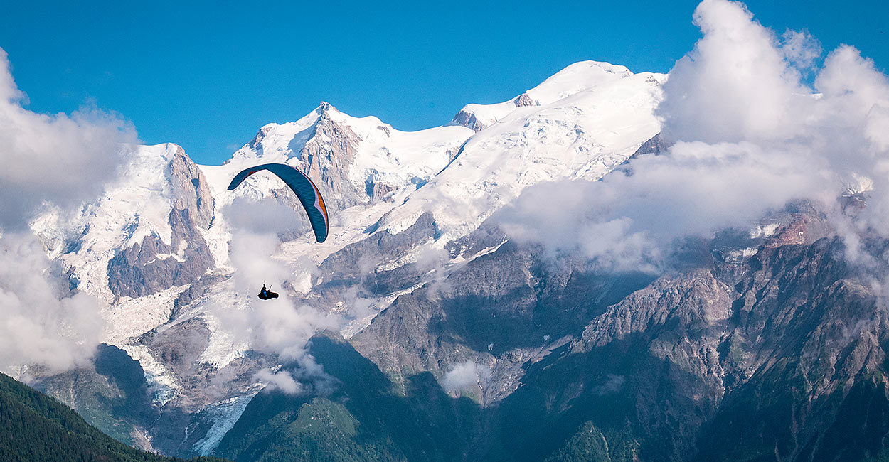 Paragliding Tour du Mont Blanc. Photo: Stephan Morgenthaler