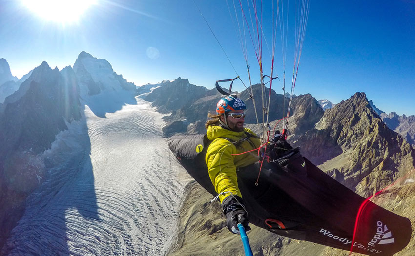 Antoine Girard paragliding in French Alps