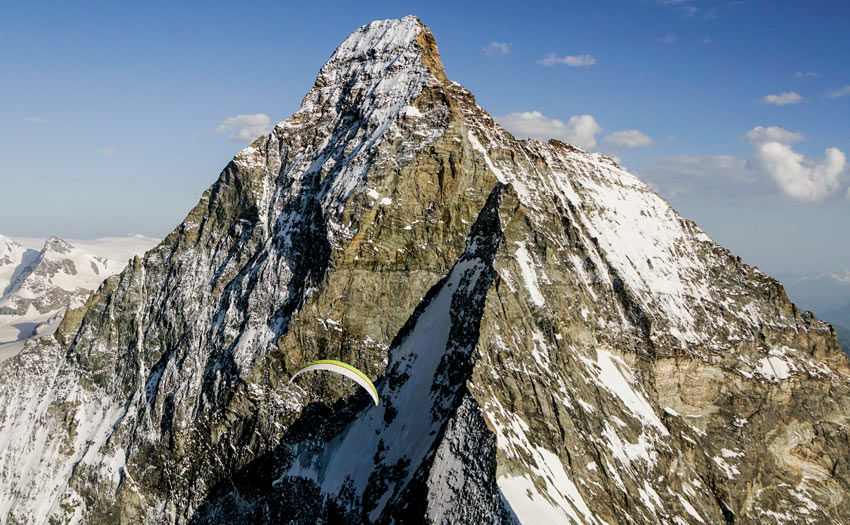 Up close with Matterhorn on a paraglider