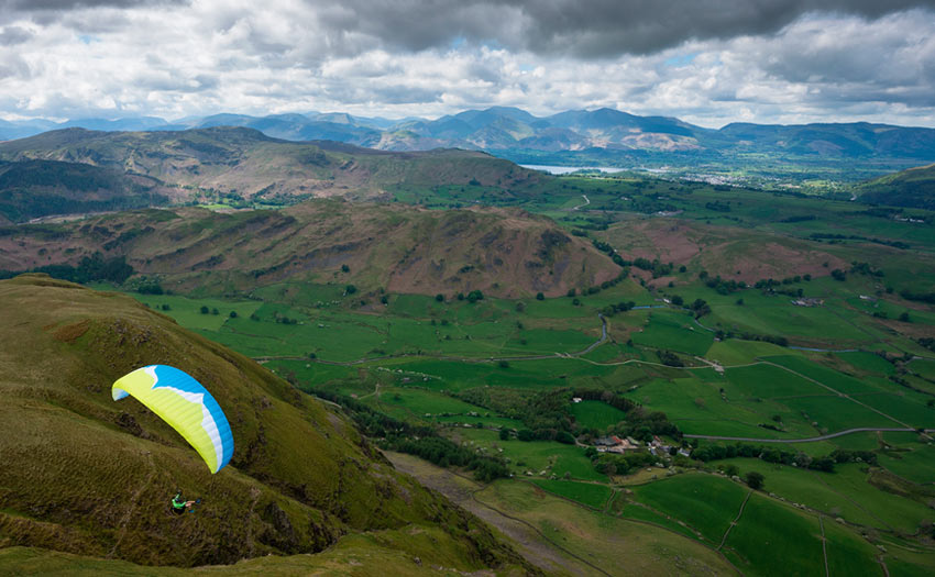 Paragliding in the Lake District National Park. Photo by Kieran Campbell