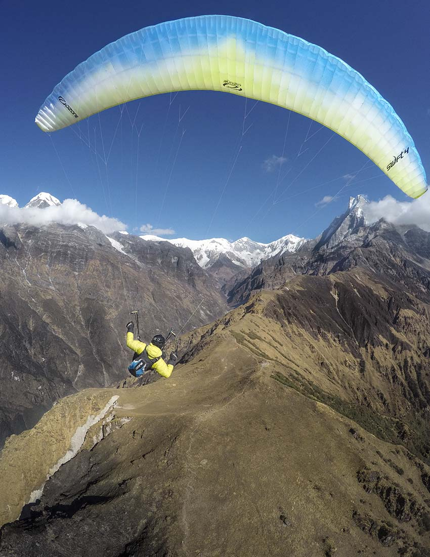 Flying close to Machapuchare, Pokhara, Nepal. Photo: Cody Tuttle