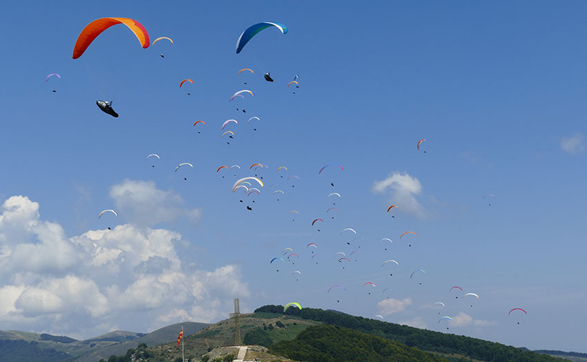 Krushevo is the perfect playground for racing paragliders. Photo: Ulric Jessop
