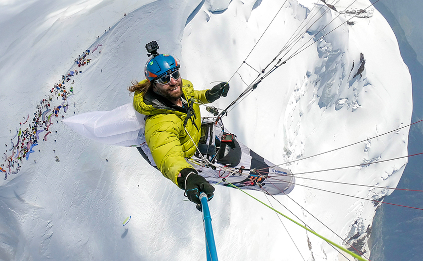 Paragliding above Mont Blanc. Photo: Antoine Girard